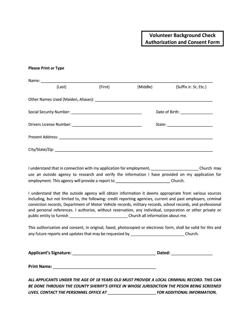 Background Check Free Criminal Record >> Free Printable Background Check Forms Fill Online
