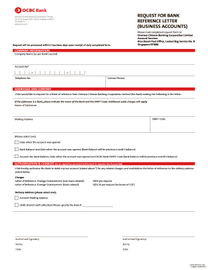 OCBC Bank Request For Bank Reference Letter Form Versions