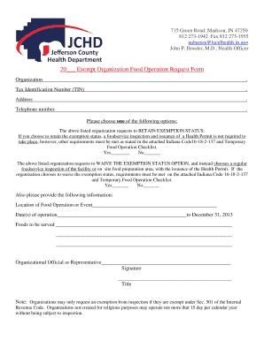 Exempt Organization Food Operation Request Form - Jefferson ...