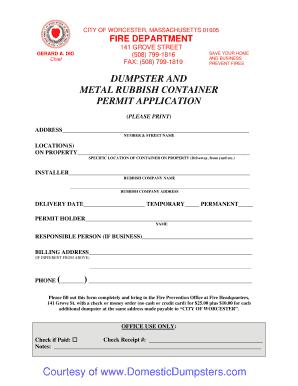 Fillable Online Worcester Ma Dumpster Permit Bapplicationb