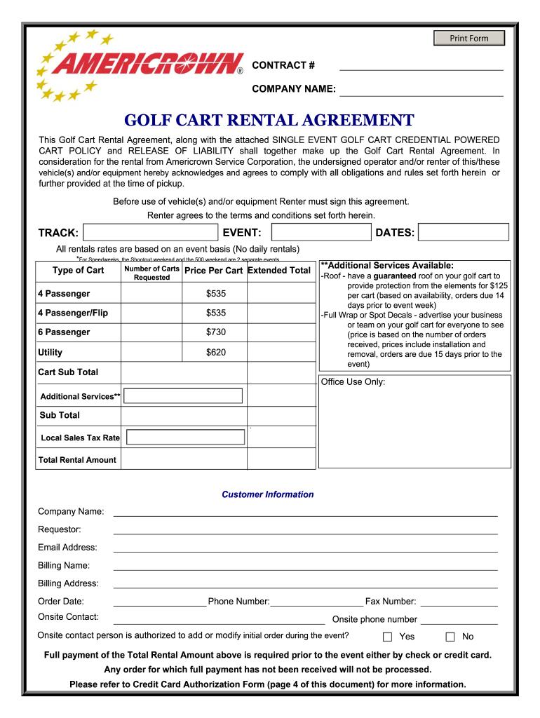 Golf Cart Rental Agreement Fill Online Printable