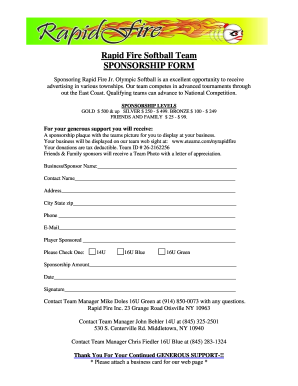 Softball Sponsorship Form  Blank Sponsorship Forms