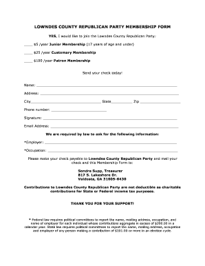 Fillable Online Lowndes county republican party membership form ...