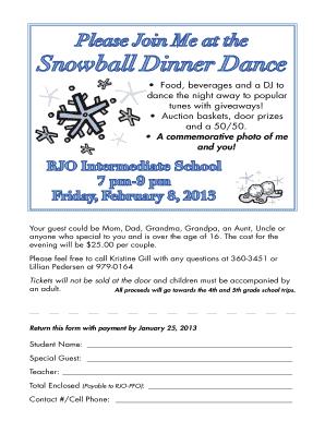 Fillable Online Snowball Dance Invitation Adobe PDF file