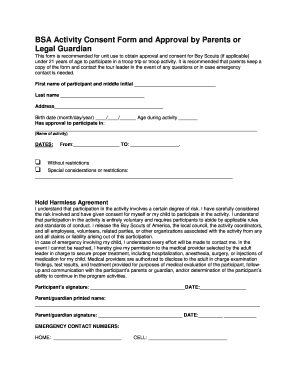 Fillable Bsa Activity Consent Form - Fill Online, Printable ...