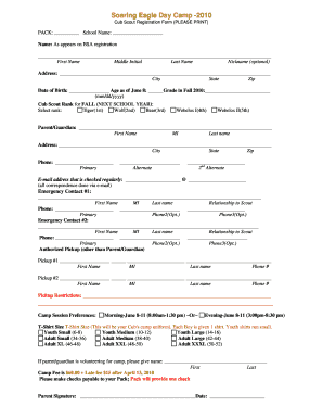 Fillable Online 2010 Day Camp Cub Scout Registration Form ...