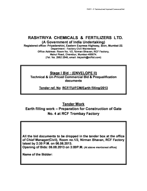 Tender Work Earth Filling Work - Rashtriya Chemicals and Fertilizers