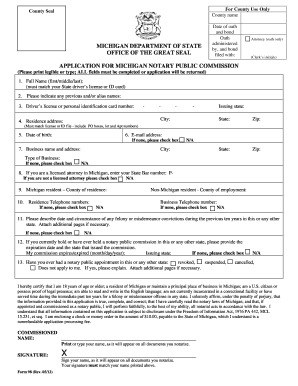 pdf state of michigan notary application form