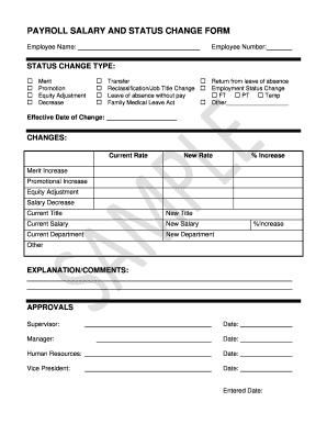 payroll change notice form template - fillable online payroll salary and status change form hr