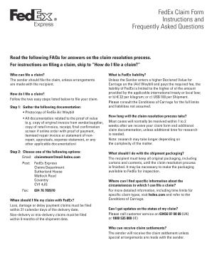 Claim Form Blankpdf Fedex - Fill Online, Printable ...
