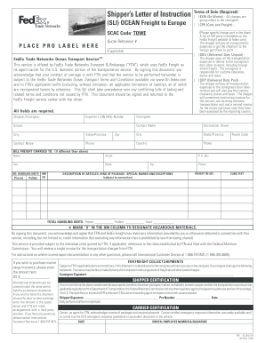 Fedex Sli - Fill Online, Printable, Fillable, Blank | PDFfiller