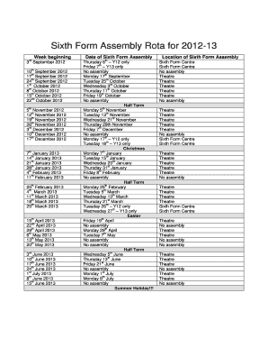 Sixth Form Assembly Rota - Fill Online, Printable, Fillable, Blank ...