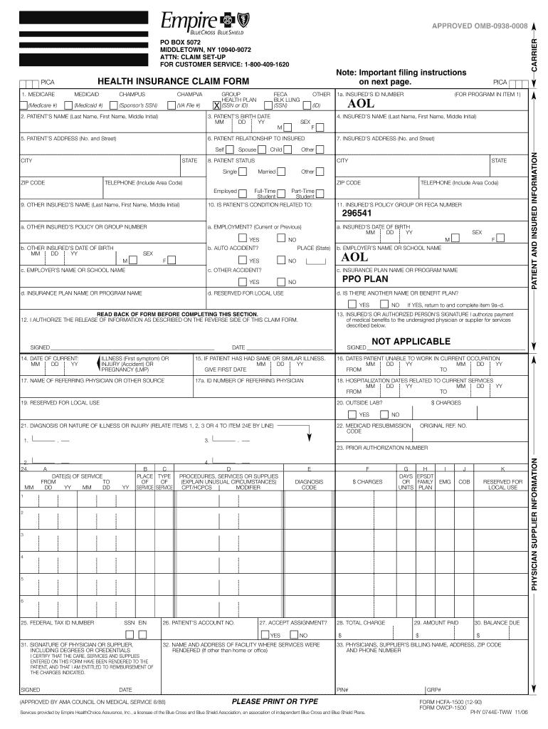 Empire Blue Cross Claim Form - Fill Online, Printable