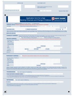2010-2020 HDFC Bank Application Form for E-Age Banking Channels and Change  Address Fill Online, Printable, Fillable, Blank - pdfFiller