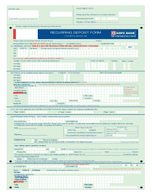 Fillable Online RECURRING DEPOSIT FORM - HDFC Bank Fax Email Print ...