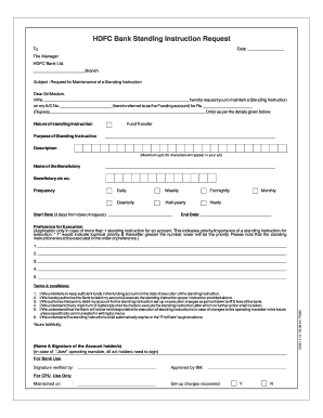 Fillable Online Standing Instruction Request Form - HDFC Bank Fax Email  Print - PDFfiller