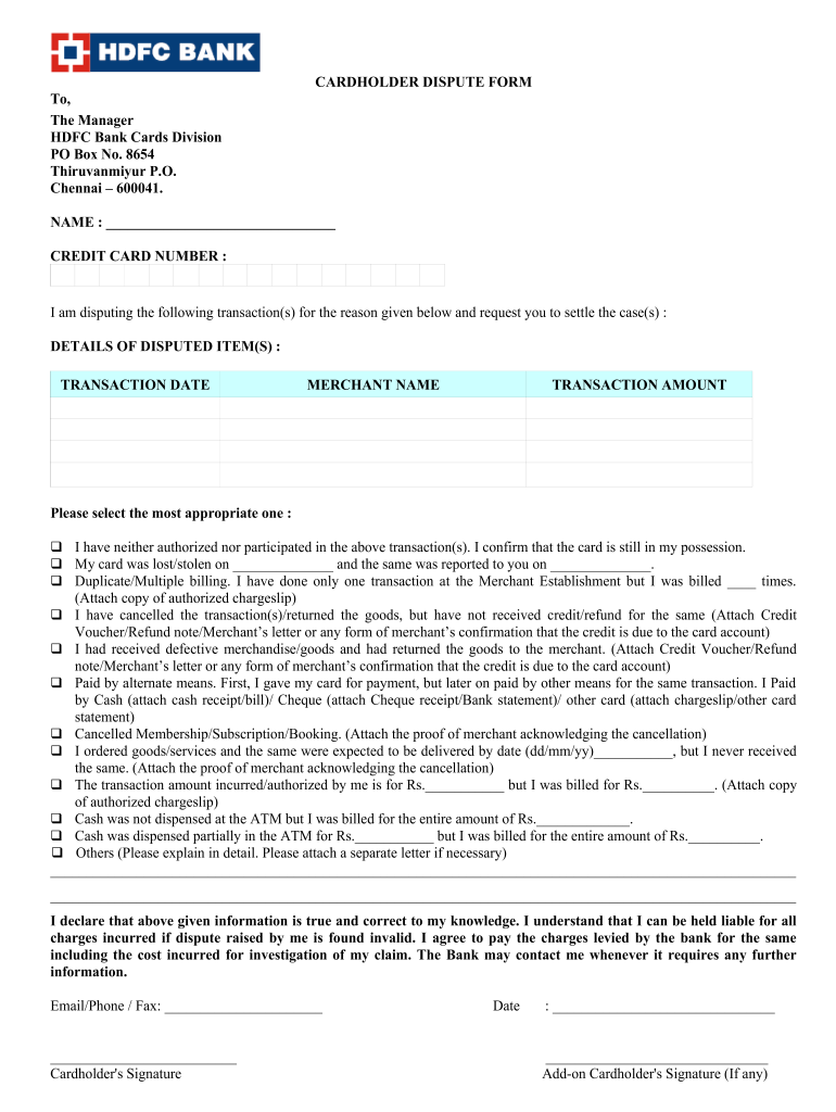 Hdfc Bank Cardholder Dispute Form Fill And Sign Printable Template Online Us Legal Forms