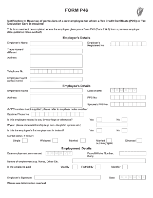 Fillable Online Form P46 Notification To Revenue Of Particulars Of A New Employee Fax Email Print Pdffiller