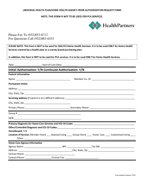 Fillable Online Home health care prior authorization form ...