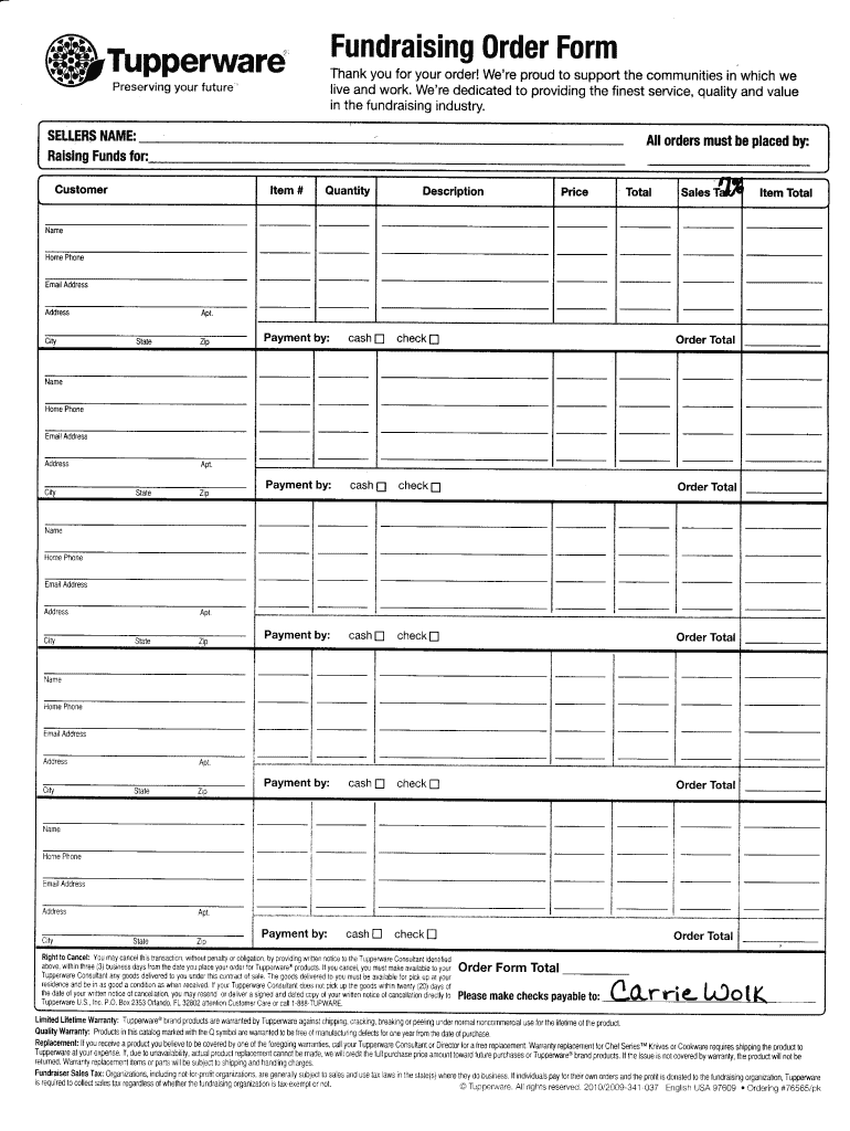 tupperware order form 2019  Tupperware Order Form Pdf - Fill Online, Printable, Fillable ...