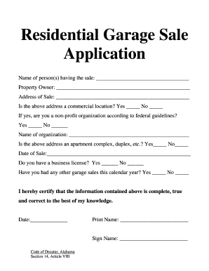 Garage Sales Permit