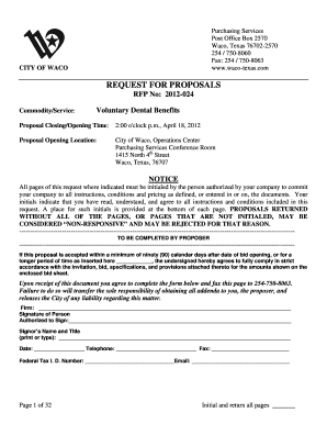 Fillable Online RFP 2012-024 - City of Waco, Texas Fax Email Print