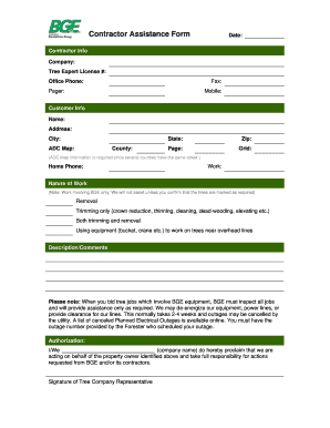 Fillable Online Contractor Assistance Form Bge Com Fax