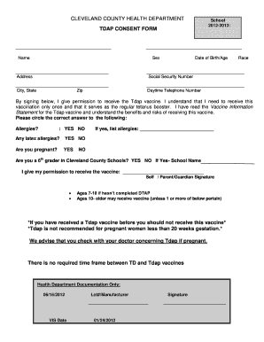 Cleveland County Health Department - Fill Online, Printable ...