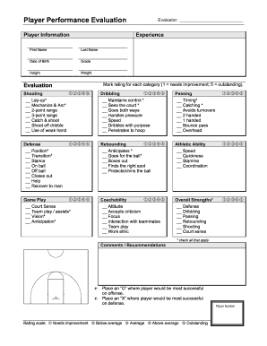 basketball tryout evaluation form Basketball Player Evaluation - Fill Online, Printable, Fillable ...