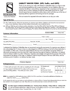 Fillable Online LIABILITY WAIVER FORM (UPS, FedEx, and USPS) Fax ...