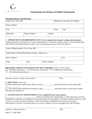 Catamaran Pharmacy Confidential Information Release Form