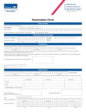 Fillable Online Nomination Form - Bharti AXA Life ...