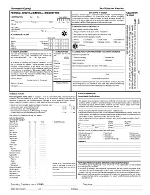 Fillable Online Personal Health Record Form - Tinton Falls, NJ Fax ...