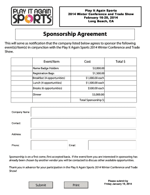 Superior Sports Sponsorship Form In Blank Sponsor Form