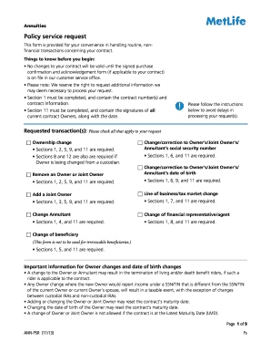 Editable Metlife Change Of Ownership Form Fillable Printable