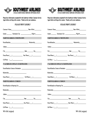 Form to assist in the recover of lost belongings.