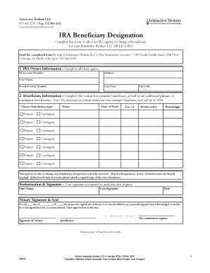 Ira Death Beneficiary Designation Interactive Brokers Fill Online Printable Fillable Blank