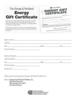 Energy Gift Certificate Form - Orange & Rockland Utilities