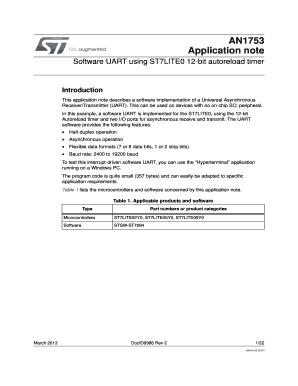 Fillable Online Software UART using ST7LITE0 12-bit autoreload timer