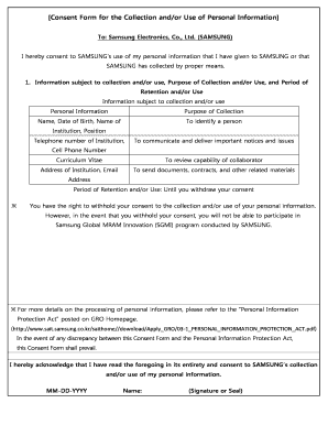 Fillable Online Consent Form for the Collection and/or Use of ...
