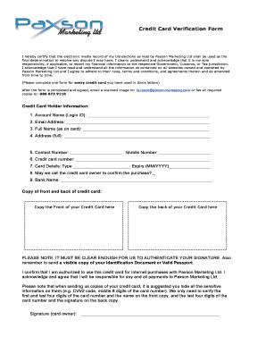 credit card confirmation form