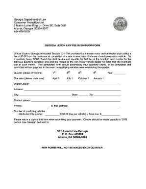 Lemon Law Ga >> Fillable Online Lemon Law Fee Submission Form 070115 Fax