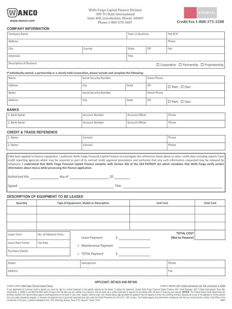 Wells Fargo Capital Finance Division 300 Tri State Fill