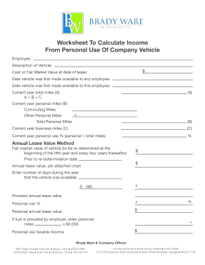 Fillable Online Company Vehicle Form - Brady Ware Fax Email ...