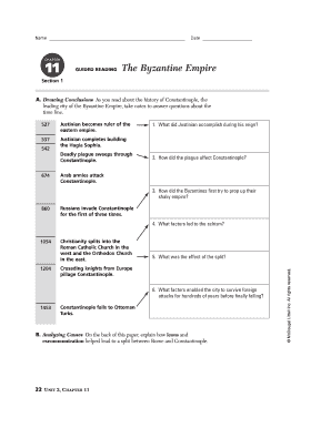 fillable online chapter 11 guided reading the byzantine empire fax rh pdffiller com Byzantine Empire Art Roman Empire