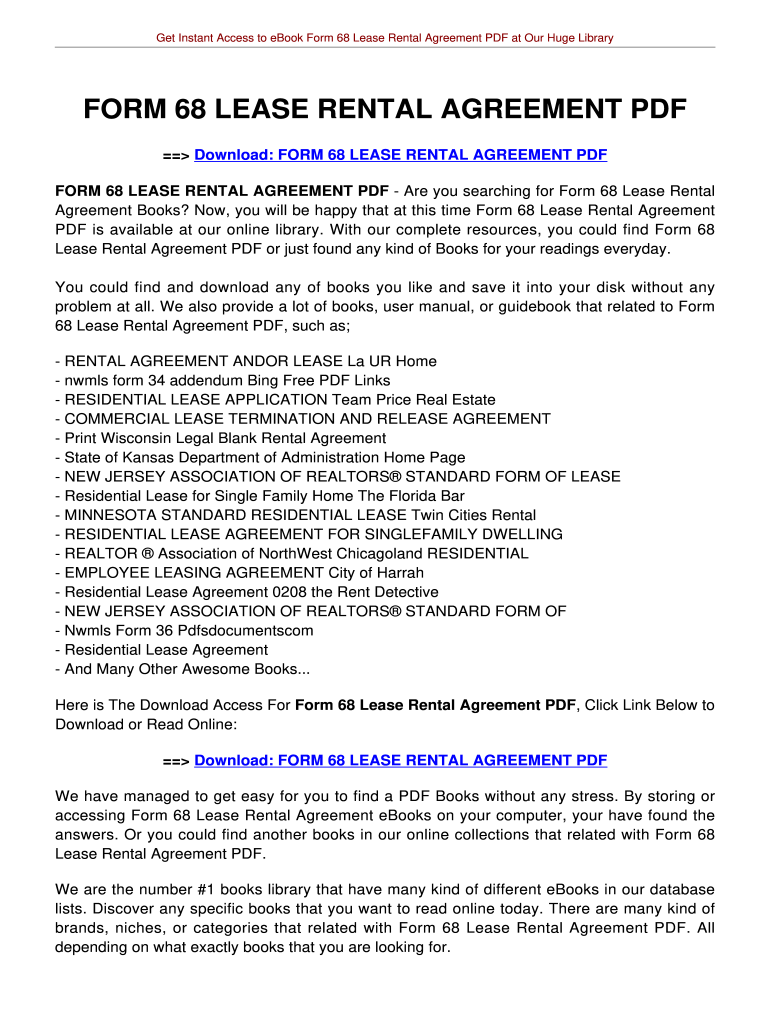 Northwest Mls Lease Rental Agreement Form 68 Fill Online