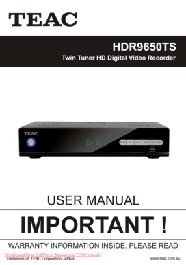 fillable online teac hdr9650ts user guide manual teac hdr9650ts user rh pdffiller com Online User Guide teac hdb850 user guide
