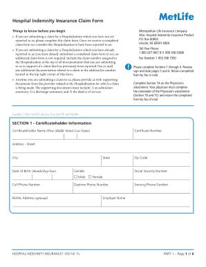 Metlife Hospital Indemnity Claim Form - Fill Online ...