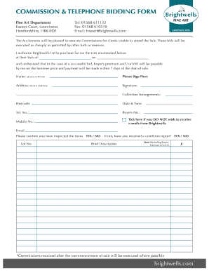 fillable online commission telephone bidding form fax email print
