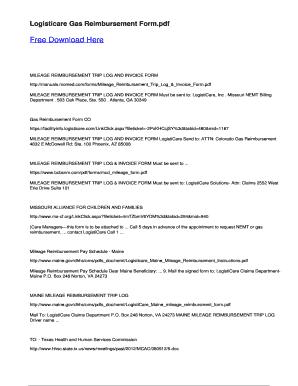 Fillable Online Logisticare Gas Reimbursement Form Fax Email Print